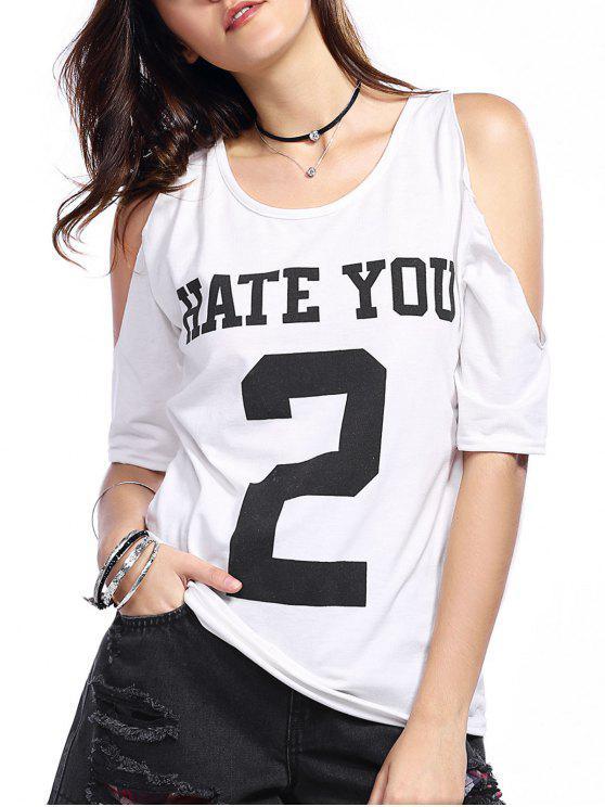 online Number Print Round Neck Cold Shoulder T-Shirt - WHITE 2XL