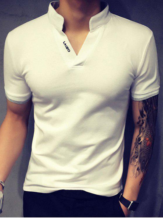 Spezielle Stehkragen Purfled Design mit kurzen Ärmeln Ausgestattet Polo-T-Shirt für Männer - Weiß XL
