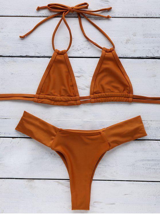 fashion Orange Halter Bikini - SWEET ORANGE S