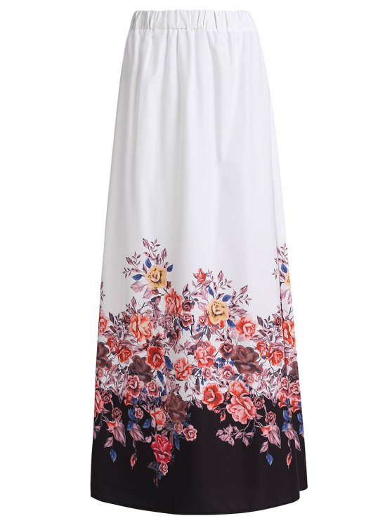 hot Floral Print Chiffon Maxi Skirt - WHITE M