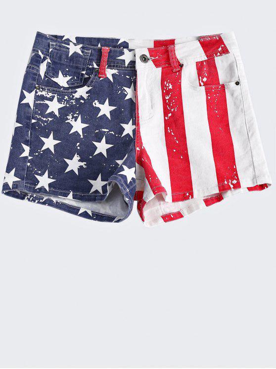 affordable American Flag Denim Shorts - COLORMIX M