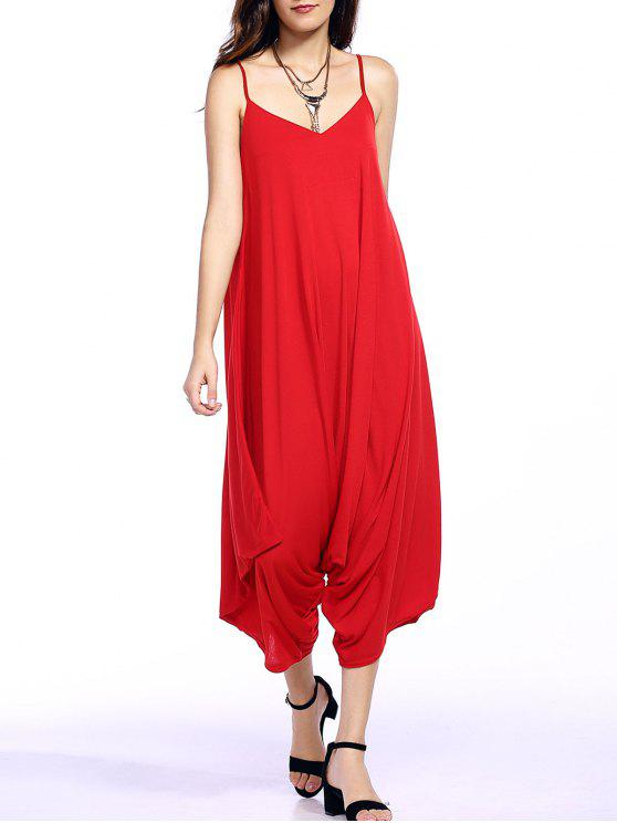 shop Solid Color Spaghetti Straps Loose Fitting Jumpsuit - RED M