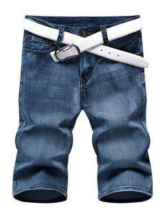 Summer Zip Fly Jambes Droites Denim Shorts Pour Hommes - Bleu 36
