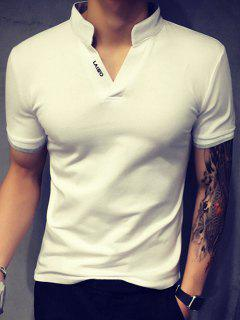 Special Stand Collar Purfled Design Short Sleeves Fitted Polo T-Shirt For Men - White Xl