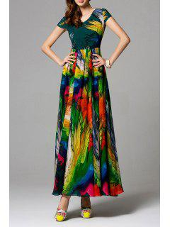 Swingy Robe En Mousseline De Soie Multicolore - S
