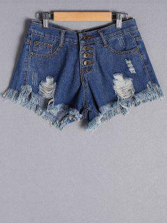 Button Fly Ripped Denim Shorts - Deep Blue S
