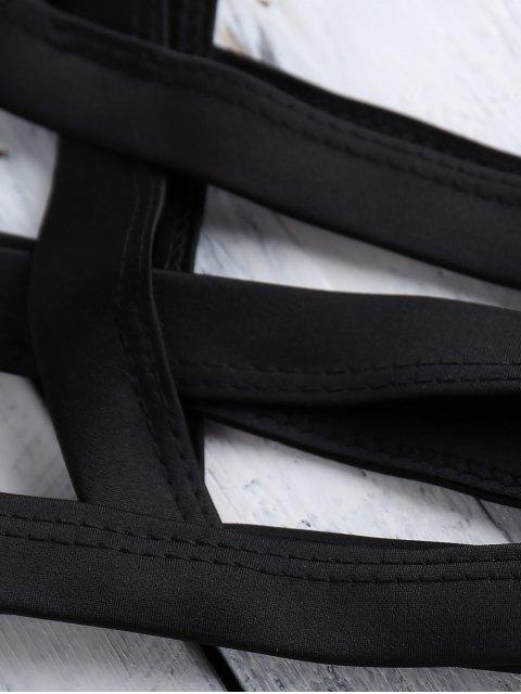 fashion Black Halter Cut Out Bikini Set - BLACK M Mobile