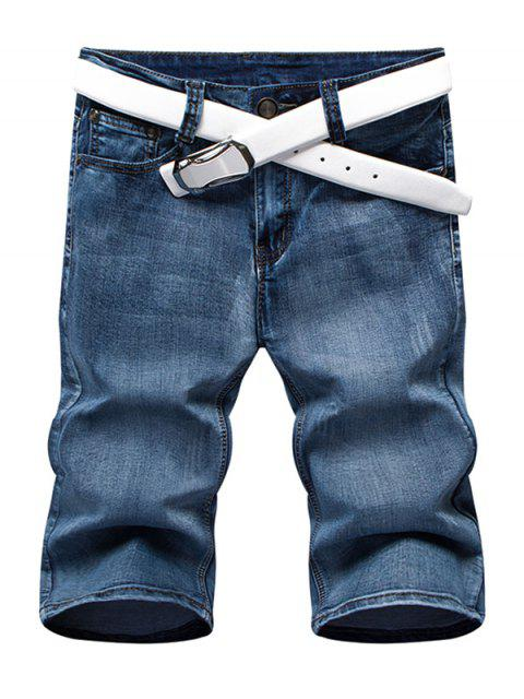 outfit Summer Zip Fly Straight Legs Denim Shorts For Men - BLUE 36 Mobile