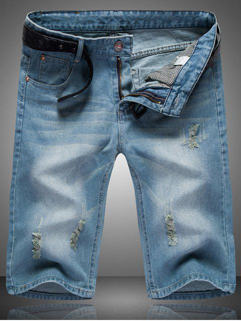 shop Ripped Cat's Whisker Design Zip Fly Straight Legs Denim Shorts For Men - BLUE 33 Mobile