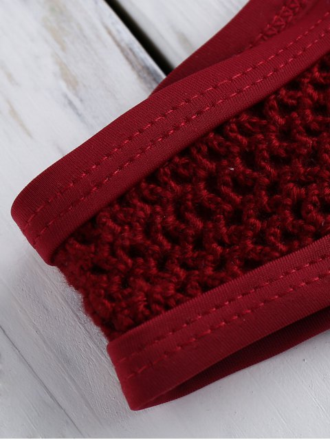 women V-String Crochet Bikini Set - RED M Mobile