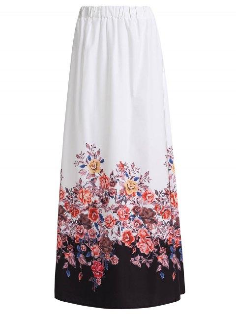hot Floral Print Chiffon Maxi Skirt - WHITE M Mobile