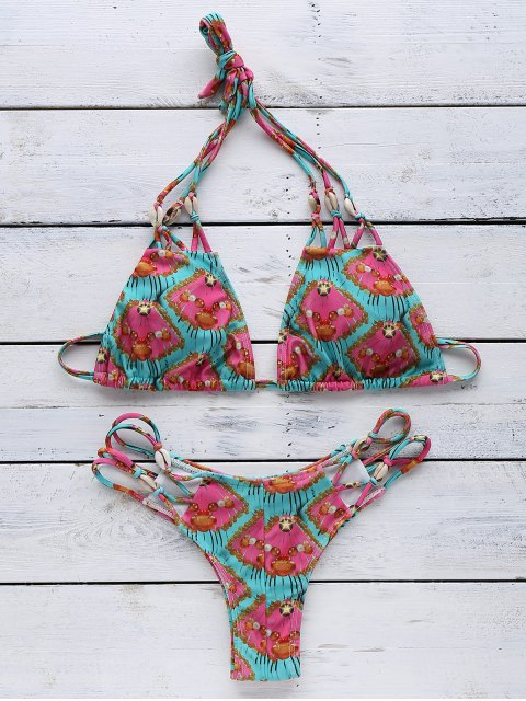 Printed Halter Elastic Bikini String Set - Vert Menthe XL Mobile