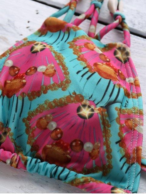 womens Printed Halter Elastic String Bikini Set - MINT GREEN S Mobile