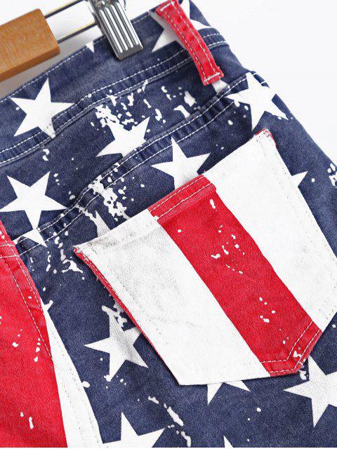 unique American Flag Denim Shorts - COLORMIX XL Mobile