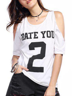 Número De Impresión Cuello Redondo Con Hombros De La Camiseta - Blanco S