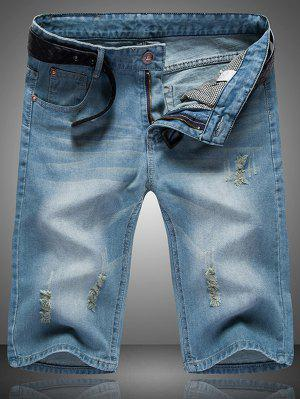 Ripped Cat's Whisker Design Zip Fly Straight Legs Denim Shorts For Men