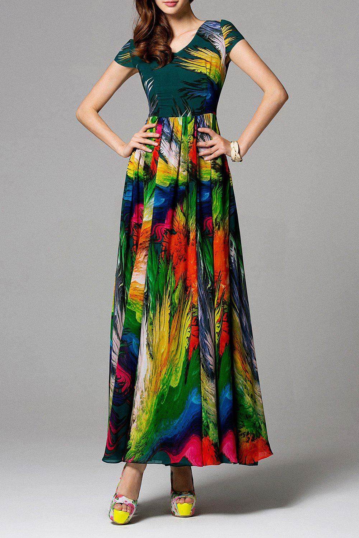 Swingy Multicolore Chiffon Dress