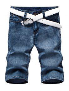 Verano Con Cremallera Y Las Piernas Rectas Pantalones Cortos De Mezclilla Para Los Hombres - Azul 36