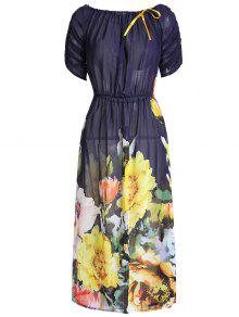 Slash Neck Large Flower Dress - Floral S