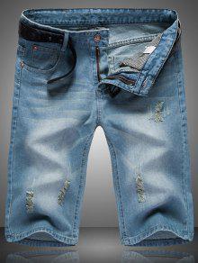 Rasgado Cat  's Bigote Diseño Con Cremallera Y Las Piernas Rectas Pantalones Cortos De Mezclilla Para Los Hombres - Azul 33
