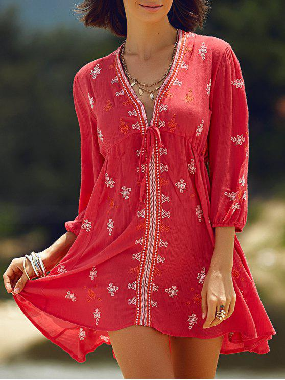 buy Retro Embroidery Plunging Neck 3/4 Sleeve Dress - RED S