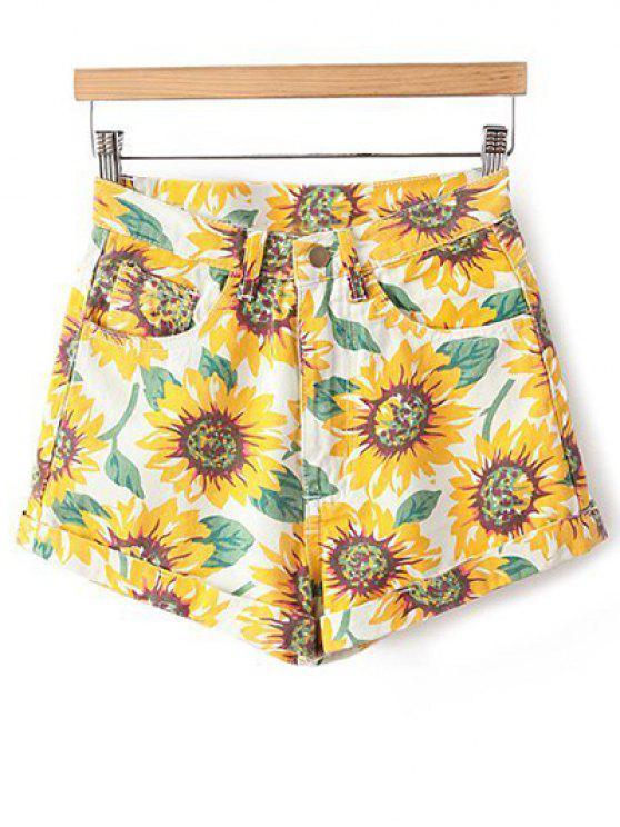 buy Sunflower Print Denim Shorts - YELLOW 23