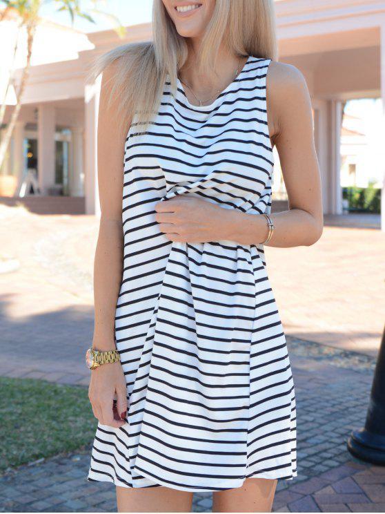 latest White Black Sleeveless Striped Dress - WHITE AND BLACK L
