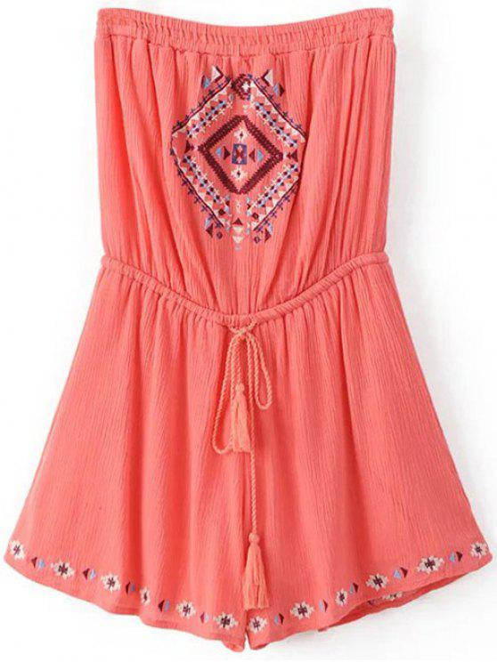 outfit Retro Embroidery Drawstring Tube Romper - ORANGEPINK M