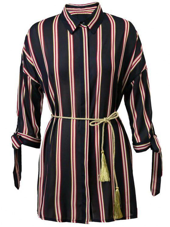 Rayé à manches 3/4 Noué Belted Robe chemise - Bleu Violet L