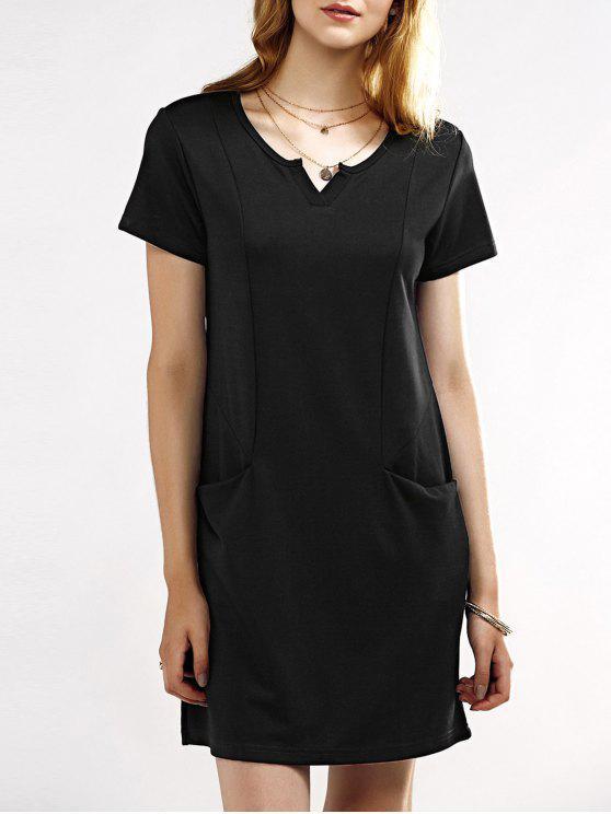 chic Notched Neck Short Sleeve Black T-Shirt Dress - BLACK XL