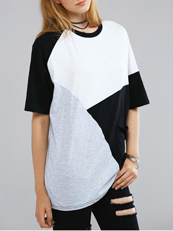 latest Color Block Round Neck Half Sleeve T-Shirt - WHITE AND BLACK ONE SIZE(FIT SIZE XS TO M)