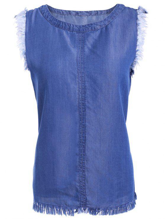 shop Chic Fringed Sleeveless Denim T-Shirt - BLUE L