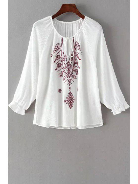 best Long Sleeve Embroidered White Fall Top - WHITE S