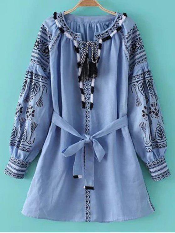Cuello redondo de manga larga vestido bordado con cinturón - Azul Claro S