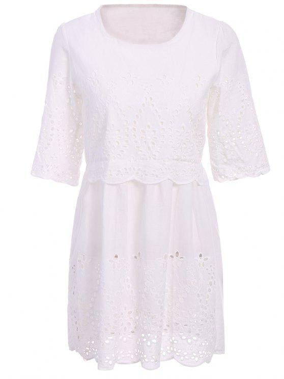 chic Openwork Solid Color 3/4 Sleeve Dress - WHITE S