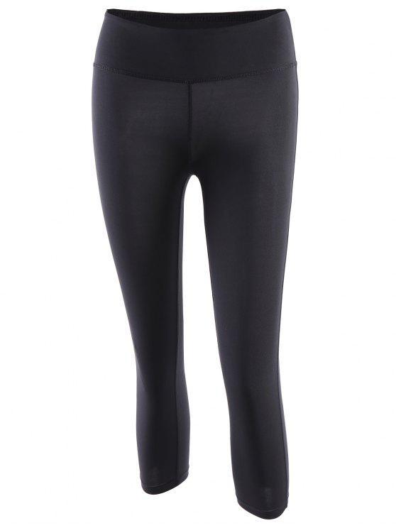 ladies Tight Fit Capri Pants - BLACK L