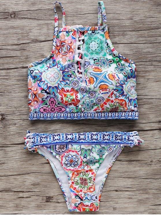 trendy High-Neck Keyhole Bikini Set - COLORMIX S