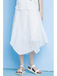 Asymmetrical Solid Color Skirt - White S