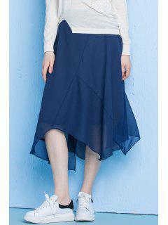 Asymmetrical Solid Color Skirt - Deep Blue S