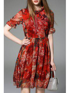 Chiffon Floral Swing Dress - Red S