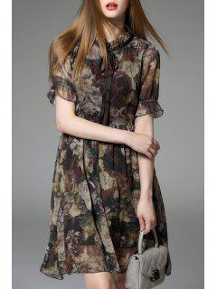 Chiffon Floral Swing Dress - S