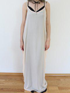Suelta Color Sólido De La Correa De Espagueti Del Vestido Maxi - Albaricoque 2xl