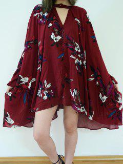 Floral Print Keyhole Neckline Long Sleeve Dress - Wine Red M