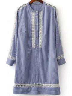 Striped Long Sleeve Lace Spliced Hollow Out Dress - Blue And White S