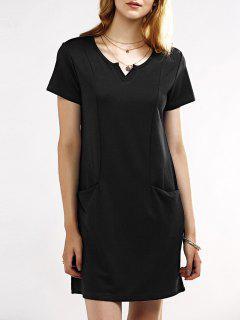 Notched Neck Short Sleeve Black T-Shirt Dress - Black Xl
