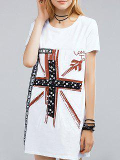 Paillettes Ronde Manches Courtes Col Imprimé T-Shirt Dress - Blanc