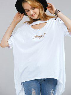 Back Slit Round Neck Cutout T-Shirt - White