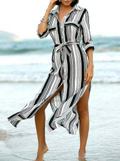 Stripe V Neck Long Sleeve Maxi Shirt Dress - Stripe S