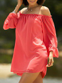 Cold Shoulder Ruffle Sleeve Dress - Red S