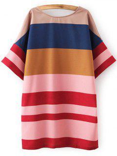 Colored Stripe Round Neck Half Sleeve Dress - Stripe S